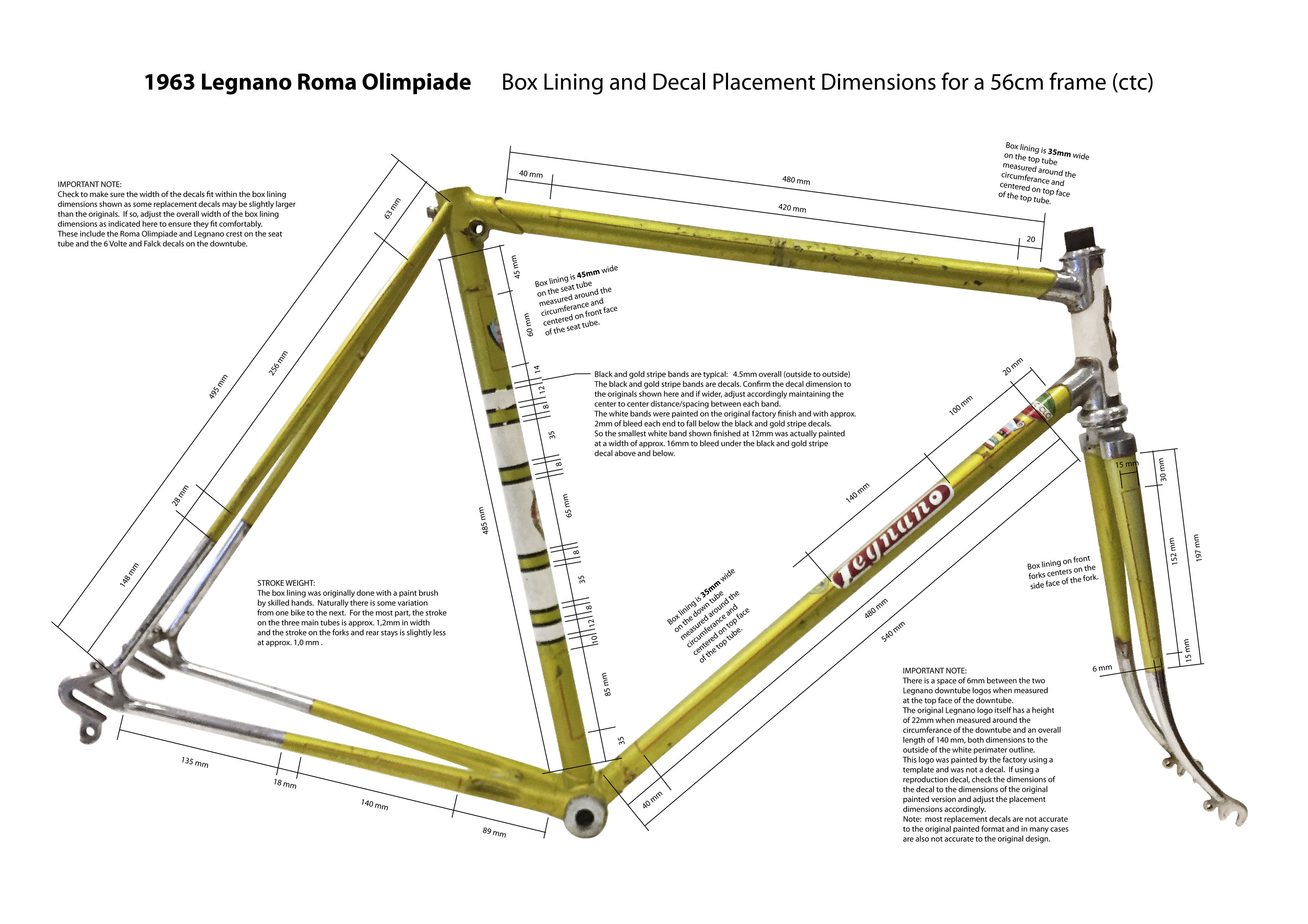 Box Lining And Decal Placement Dimensions When Refinishing A Legnano